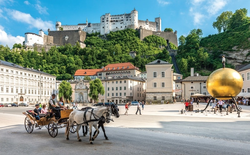 The Kapitelplatz is one of the largest Baroque squares in Salzburg, right next to the Salzburg Cathedral and extending towards the fortress