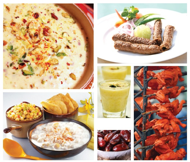 (Clockwise from above) Chaat, phirni, different types of kebab, sweet dates, lassi and kheer are some of the delicacies on offer during Ramadan