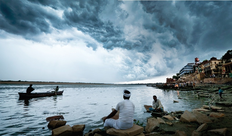 Dense storm clouds in Varanasi