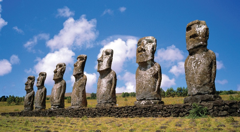 The monumental Moai statues created during the 10th-16th centuries in Easter Island, Chile