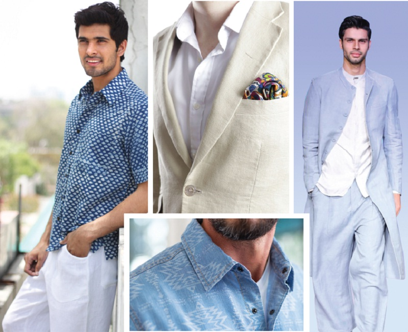 Go Indian at work with indigo shirts, colourful pocket squares and jackets in handloom fabrics