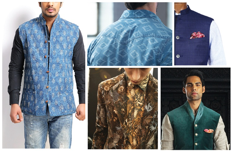 (Clockwise from above) Flaunt your Indianness in the versatile bandi jacket, a shirt with subtle Indiainspired prints, pocket squares and an embroidered jacket