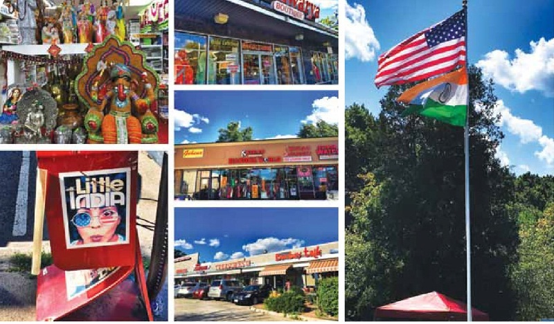 Stores selling Indian goods in New Jersey (above), and the American and Indian flags on the same mast (right)