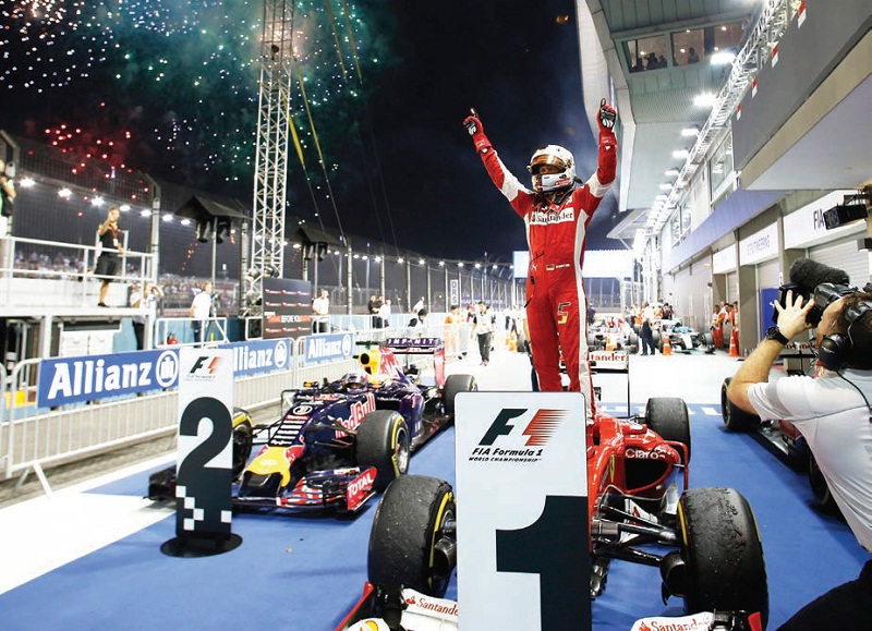 Sebastian Vettel, after he clinched the trophy at the 2015 Singapore Grand Prix