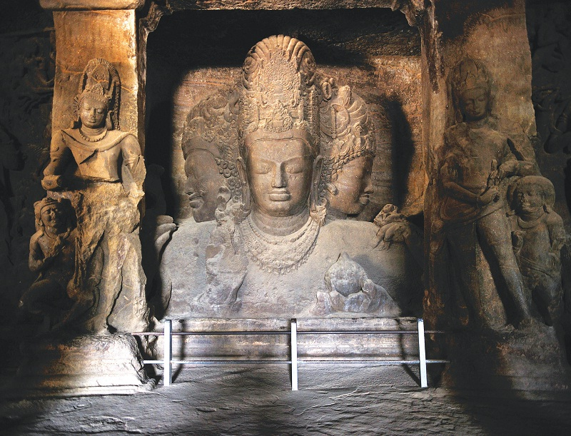 Statue in Elephanta Caves