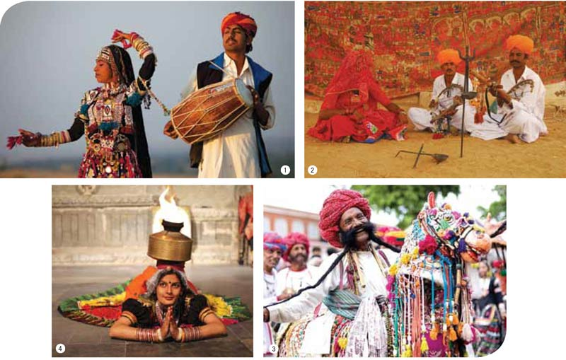 1. Kalbelia dancers or Saperas paint a vibrant picture in the desert land 2. Musicians play the ravanhatta, a local stringand- bow instrument 3. A colourful kacchi ghodi performer 4. A fire dance performance of Rajasthan