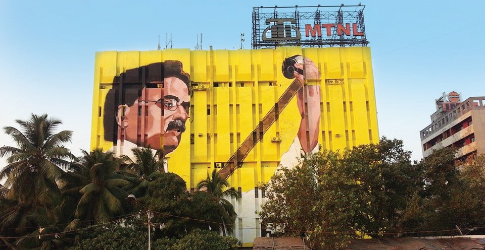 Mural of Dadasaheb Phalke on Bandra's MTNL building